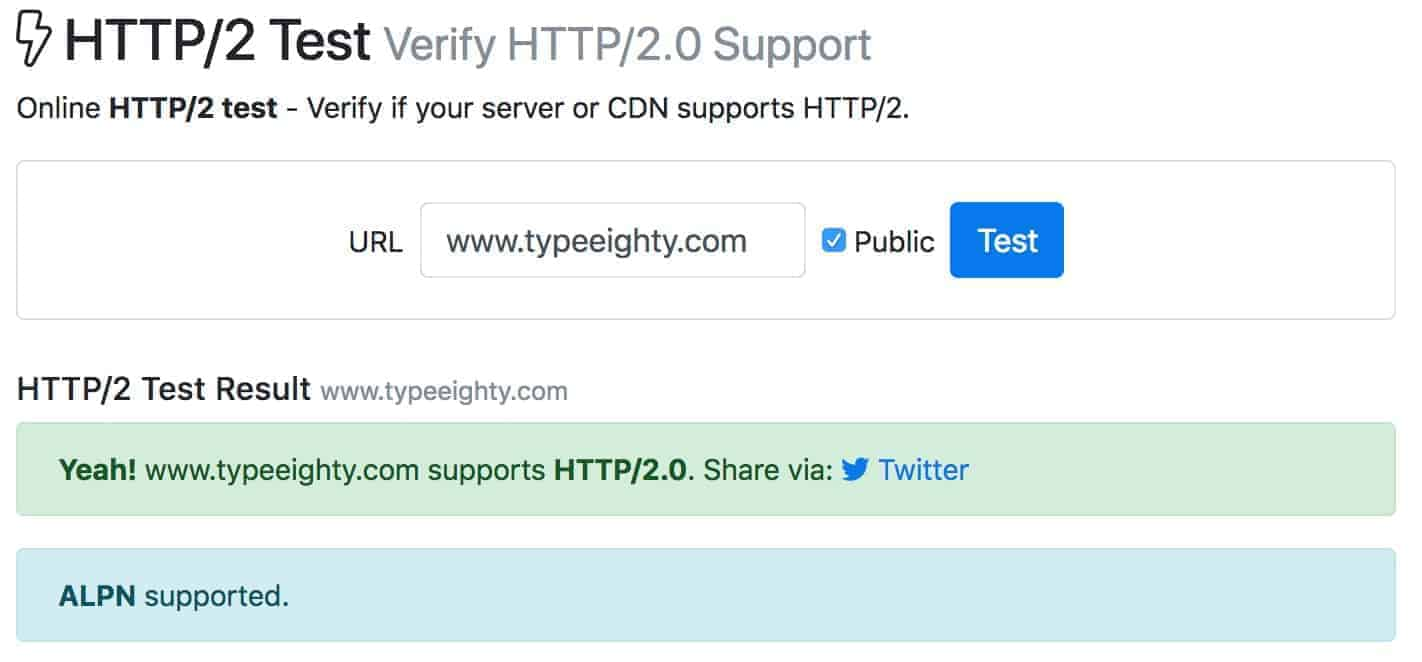 Website Performance - HTTP/2 Test