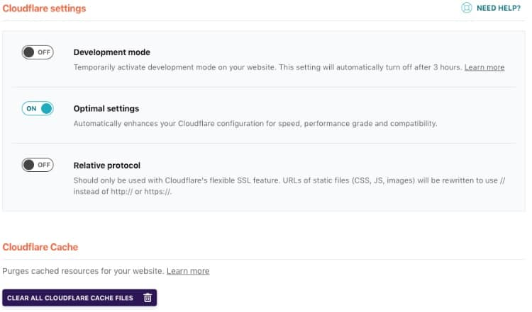 WP Rocket - Cloudflare Settings