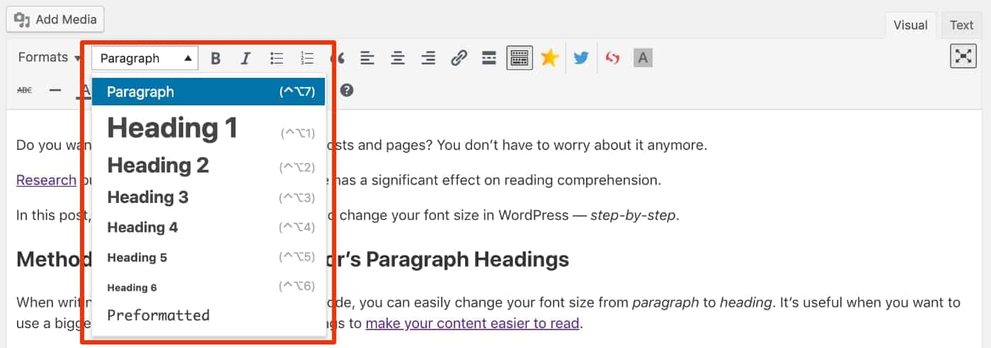 Visual Editor Paragraph Headings